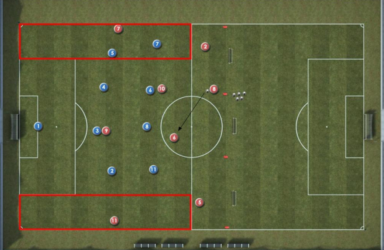 Set-up for creating space soccer functional exercise